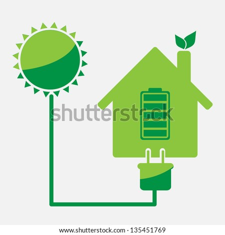 eco friendly house rechargeable from sun energy vector icon - stock vector
