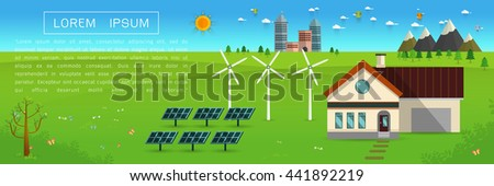 eco friendly house - solar energy, wind energy,Green energy ,urban landscape,Vector concept illustration. - stock vector