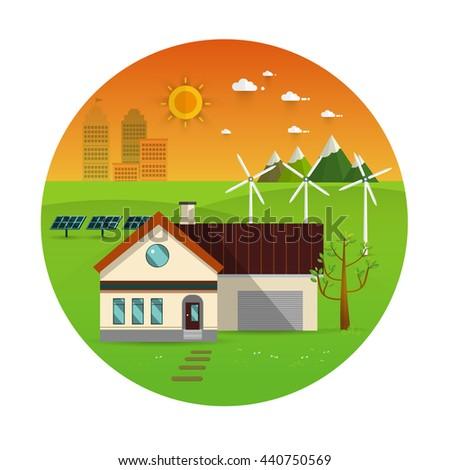 Eco Friendly House   Solar Energy, Wind Energy,urban Landscape,Green Energy  ,