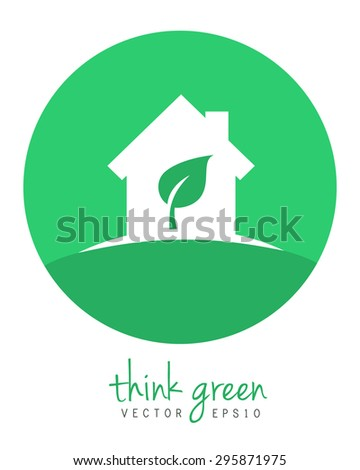 Eco-friendly house with leaf inside as green home and home improvement concept. Vector eps10 logo in flat design. - stock vector