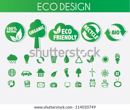 Eco Friendly Icons Design with Stickers - stock vector
