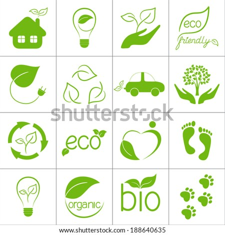 Eco friendly icons set - stock vector