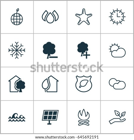 Eco Friendly Icons Set Collection Cloud Cumulus Stock Vector 2018