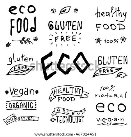 Eco friendly labels. Set of labels. Isolated on background. Hand drawing. Inscriptions on Healthy Food, Gluten Free, Eco, Vegan, Green Technology, Organic etc.
