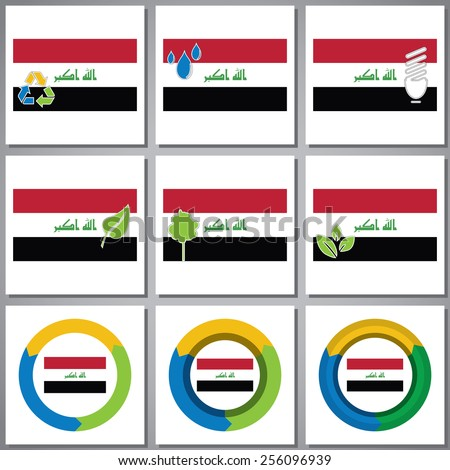 Eco friendly marks and icons with country flag - stock vector