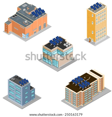 Eco Friendly Modern Buildings with Solar Panels. Eco Buildings with Solar Panels. Icons set of buildings with solar panels.