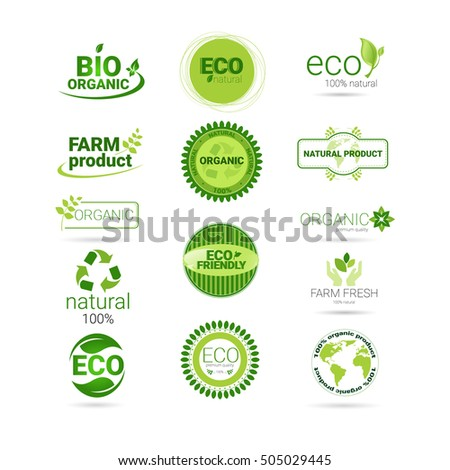 Eco Friendly Organic Natural Product Web Icon Set Green Logo Collection Flat Vector Illustration