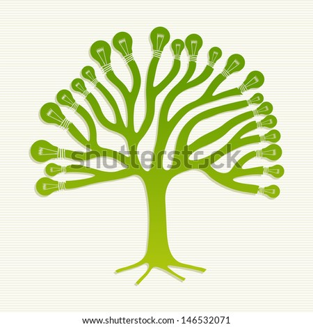 Eco friendly renewable energy icons tree set. This illustration is layered for easy manipulation and custom coloring - stock vector