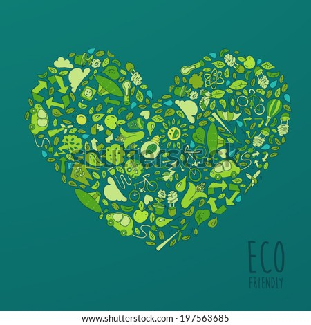 Eco Friendly, save earth concept, set in the shape of heart, vector illustration, hand drawing - stock vector