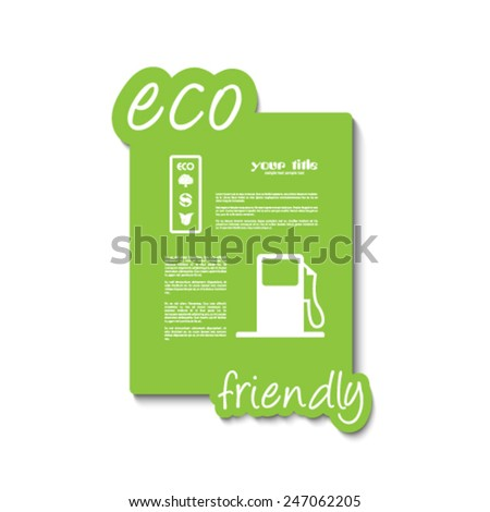 eco friendly signs and symbols on a green card  - stock vector