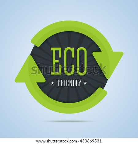 Eco friendly stamp with arrows and stars. Badge for natural products. Vector illustration. - stock vector