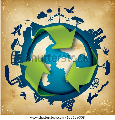 Eco Friendly Template - suitable for posters, flyers, brochures, banners, badges, labels, wallpapers, web design, advertising, publicity or any branding. - stock vector