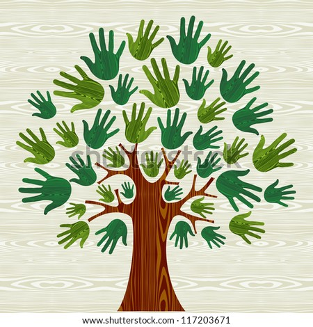 Eco friendly tree hands illustration for greeting card over wooden pattern. Vector file layered for easy manipulation and custom coloring. - stock vector