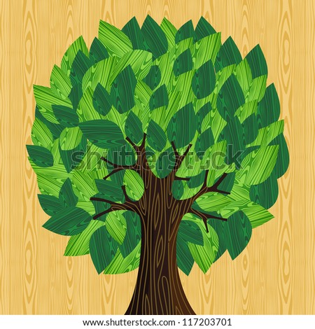 Eco friendly tree with green wooden leaves illustration. Vector file layered for easy manipulation and custom coloring. - stock vector