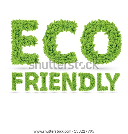 Eco friendly word made of green vector leafs - stock vector
