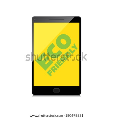 Eco friendly word on High-quality smartphone screen. Think Green. Ecology Concept. Environmentally friendly planet. - stock vector