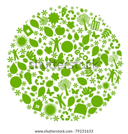 Eco Globe, Isolated On White Background, Vector Illustration - stock vector