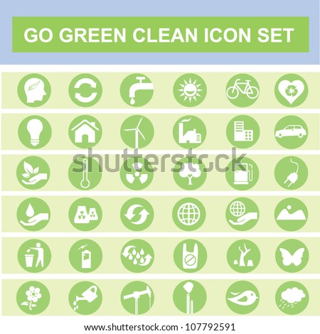 eco, go green, clean icon set - stock vector