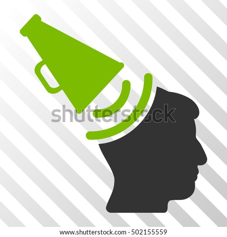 Eco Green And Gray Propaganda Megaphone interface toolbar icon. Vector pictogram style is a flat bicolor symbol on diagonal hatch transparent background.