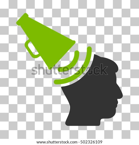 Eco Green And Gray Propaganda Megaphone interface toolbar pictogram. Vector pictograph style is a flat bicolor symbol on chess transparent background.