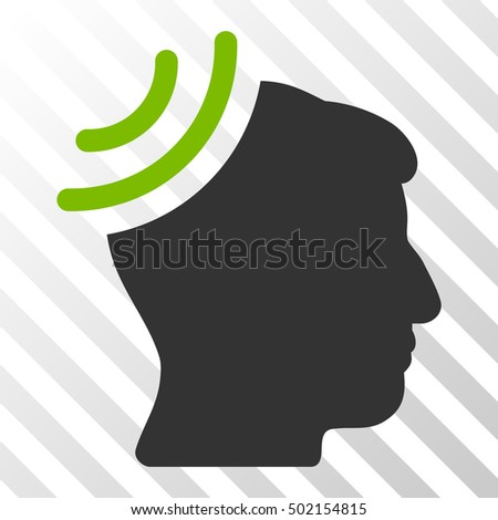 Eco Green And Gray Radio Reception Brain interface icon. Vector pictogram style is a flat bicolor symbol on diagonal hatch transparent background.