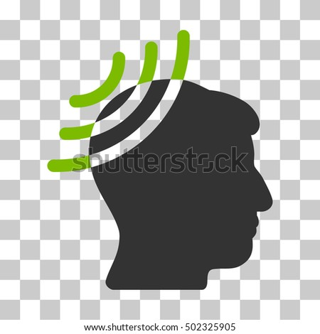 Eco Green And Gray Radio Reception Head interface toolbar icon. Vector pictogram style is a flat bicolor symbol on chess transparent background.