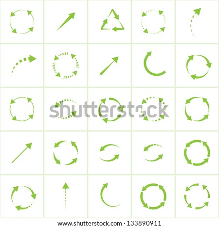 eco green arrows. vector set eps8 - stock vector