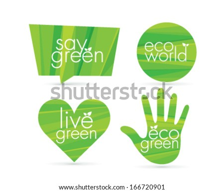 Eco green creative vector icons set. Organic nature design elements. - stock vector