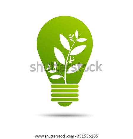 eco green energy concept, plant growing inside light bulb