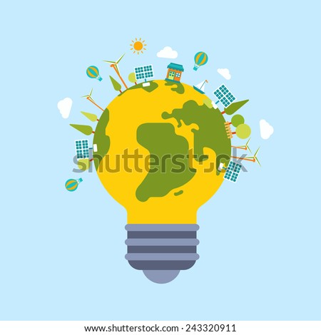 Eco green energy lamp lifestyle planet world globe modern flat style template. Windmill and sun battery, eco transport, non polluting factory production, trees and clouds. Ecology concepts collection. - stock vector