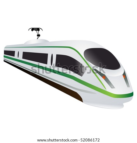Eco green fast modern locomotive isolated on white - stock vector