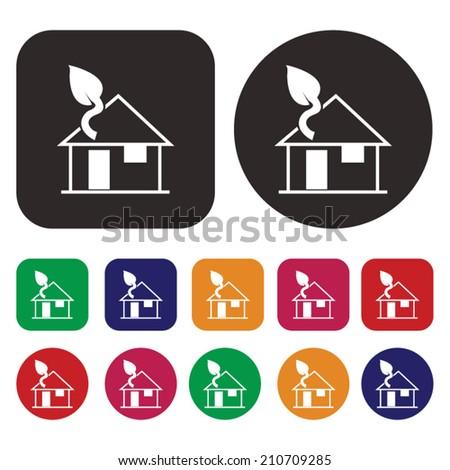 Eco green house icon / Green house - stock vector