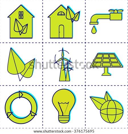 Eco green house icons set. Environmentally home. - stock vector