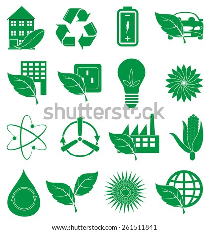 Eco green icons set - stock vector