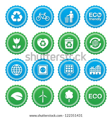 Eco green labels set - ecology, recycling, eco power concept - stock vector