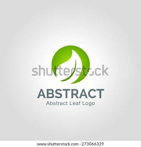 Eco green leaf logo template. Abstract Vector Green leaves Ecology icon. - stock vector