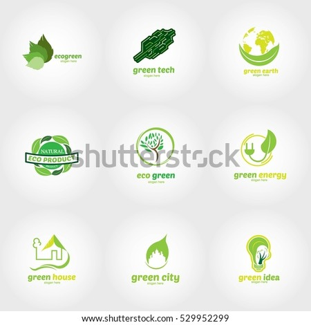 Eco Green Logo Design Template. Vector Illustration