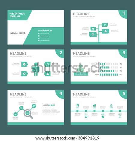 Eco green multipurpose presentation brochure flyer template flat design set  - stock vector