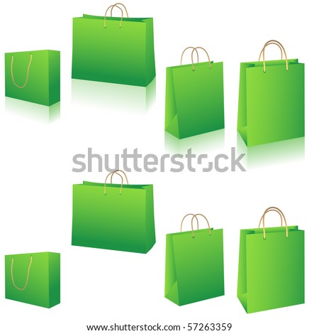 Eco green shopping bags set vector illustration