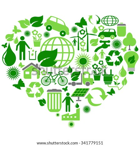 eco green symbols in heart shape - stock vector