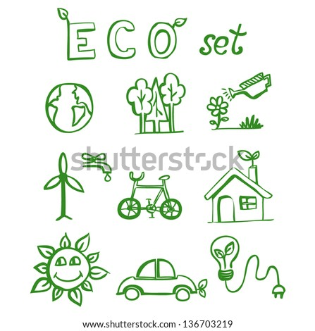 Eco hand drawn doodles  eps10 - stock vector