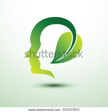 Eco head think green eco concept with leaf icon ,vector illustration