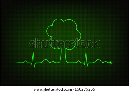 Eco heart beat. Cardiogram line forming tree shape - stock vector