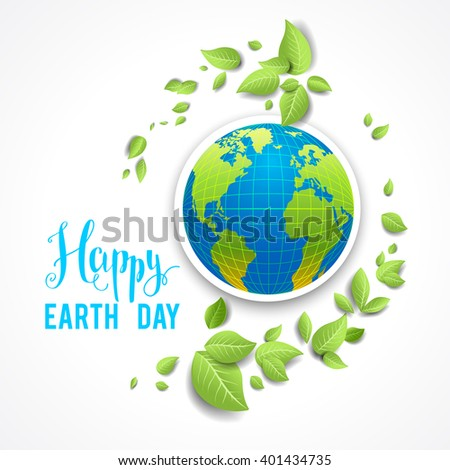Eco holiday background. Concept for design banner,ticket, leaflet and so on.Template page for Earth day. Holiday card. Green globe and leaves. - stock vector