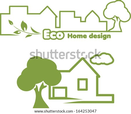 Eco Home Design Icons Design Vector Stock Vector 164253047 ...