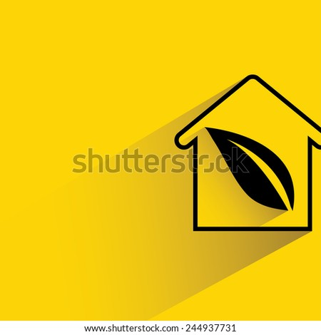 eco home on yellow background, flat and shadow theme - stock vector