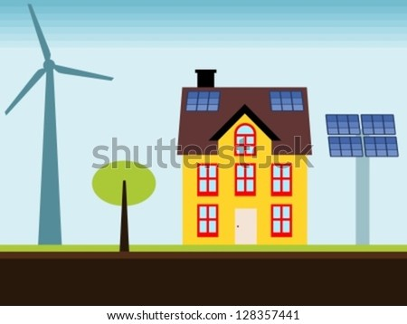 Eco home - property with self sustainable renewable energy sources. Wind turbine and solar power panels. - stock vector