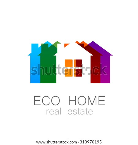 Eco Home Template Logo Ecological Construction Stock Vector