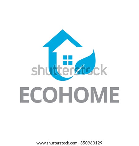 Eco house and real estate logo. Home, housing, ecological materials, safe environment - stock vector