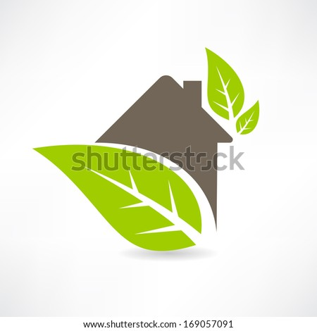 Eco house concept green leaf icon - stock vector